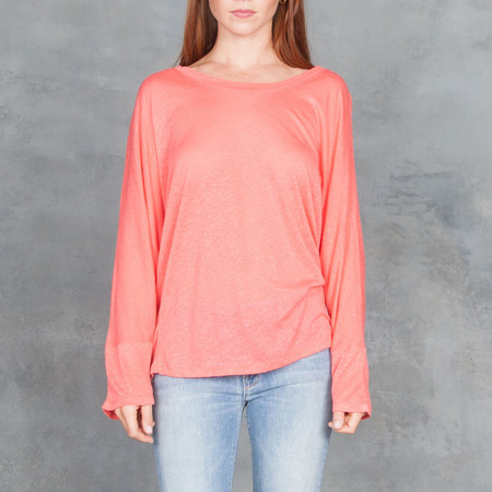 IRO Ficher Open Back Tee Shirt Coral
