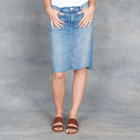 Mother Denim Mother Peg Step Fray Skirt Light Blue