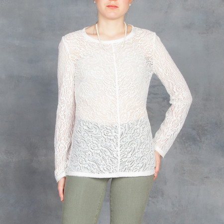 Raquel Allegra Long Sleeve Lace Tee in Ivory