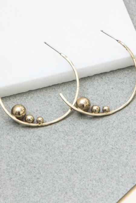 Cities In Dust Bronze Triple Ball Slope Earrings