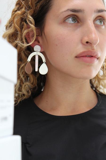 Annie Costello Brown Mini Arc Drop Earrings - Silver