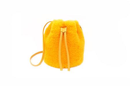 Primecut CHEETO ORANGE SHEARLING BUCKET BAG