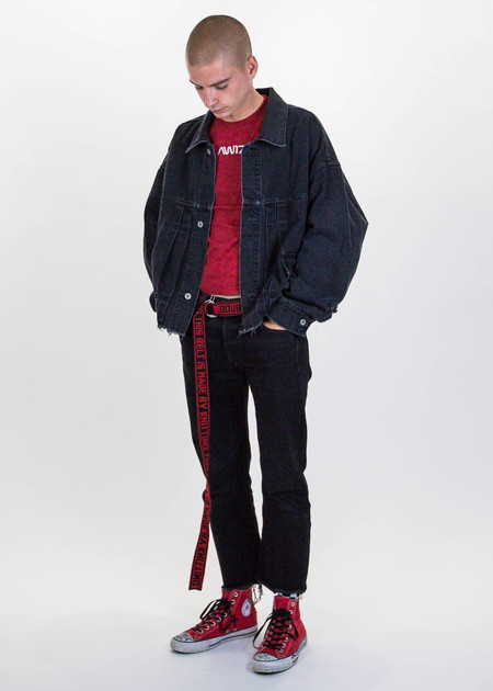 Doublet Black Cut Off Oversized Silk Denim Jacket