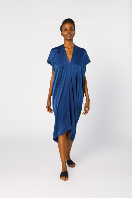 Miranda Bennett Ed. VIII Everyday Dress, Silk Charmeuse in Dark Indigo