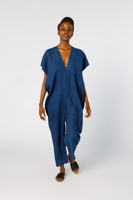 Miranda Bennett Everyday Jumpsuit, Linen in Dark Indigo