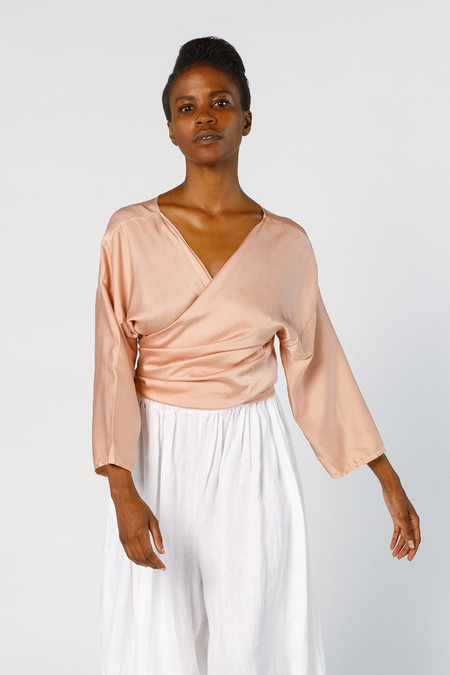 Miranda Bennett In-Stock: Wrap Top - Silk Charmeuse in Bardot