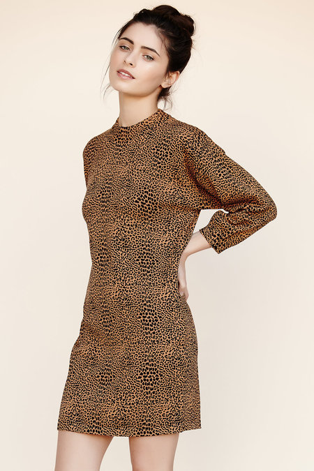Callahan Leopard Mock Turtleneck Dress