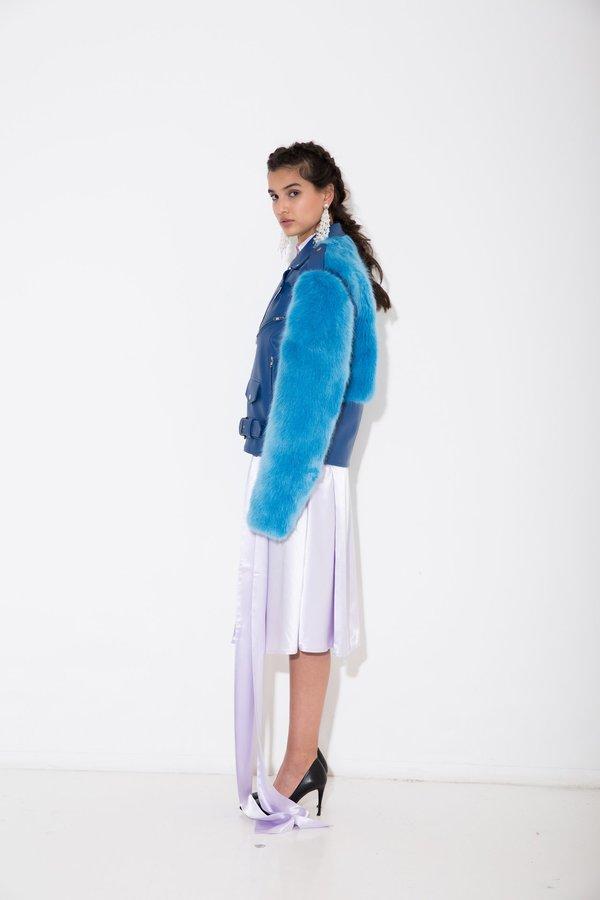 Nika Tang Blue Sienna Vegan Leather Coat