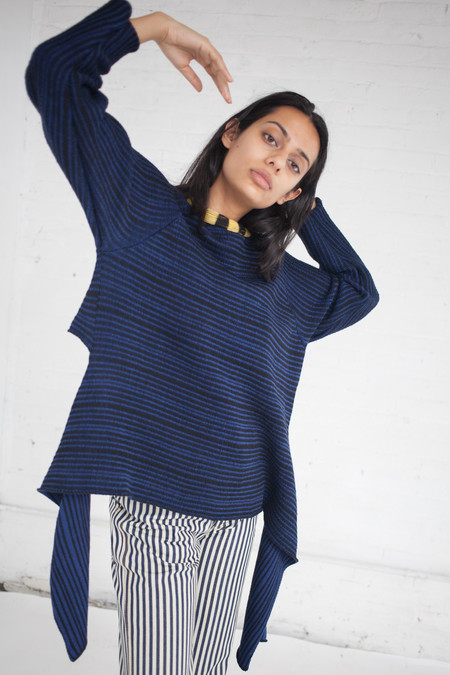 ECKHAUS LATTA Tie Up Sweater in Navy
