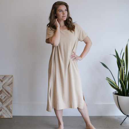 Jamie and the Jones The Staple Basic Midi Dress - Sand