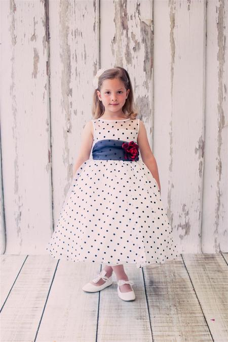 Kids Organza Polkadot Dress White/Black