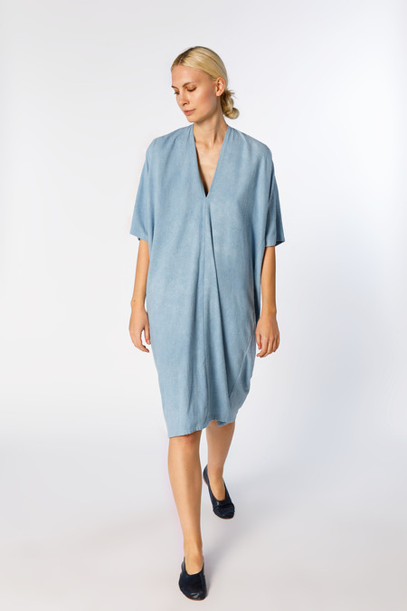 Miranda Bennett Ed. VIII Muse Dress, Silk Noil in Light Indigo