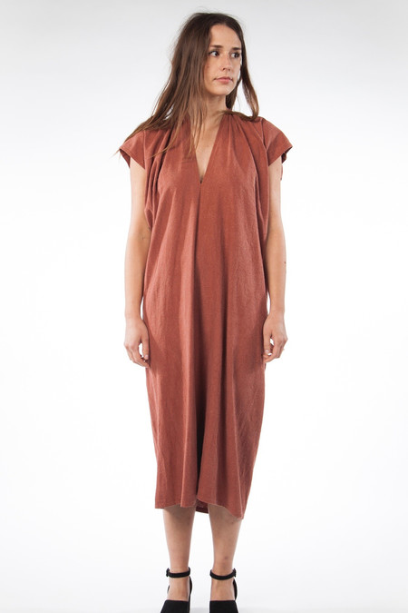 Miranda Bennett In-Stock: Everyday Dress, Oversized, Silk Noil in Terracotta