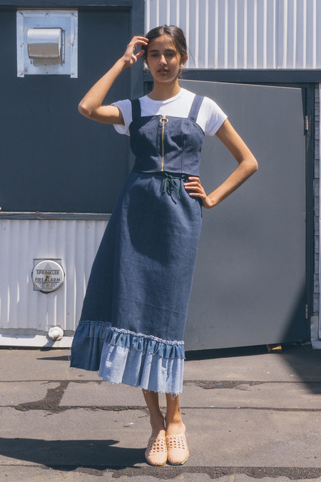 GARMENTORY EXCLUSIVE | Alexa Stark Ruffle Denim Wrap Skirt