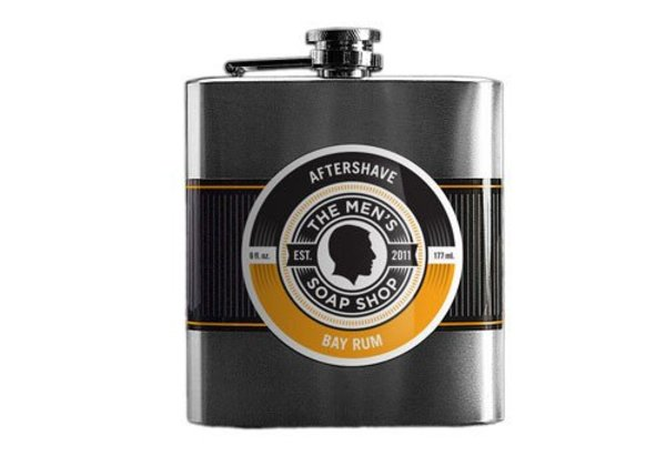 The Men's Soap Bay Rum Aftershave in a Flask