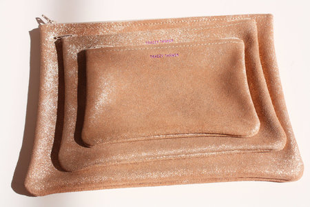 Tracey Tanner Flat Zip Pouch in Rose Gold Leather