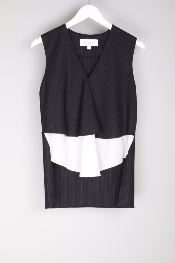 10 Crosby by Derek Lam Tiered V Neck Top