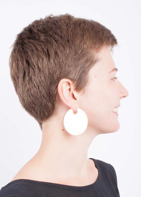 "Lila Rice Disc Hoops 2"" earrings"