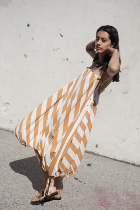 Electric Feathers Infinite Parachute Dress in Mustard/Ivory Stripe