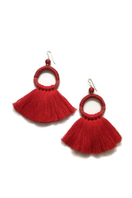 Ora-C Mixed Material Oly Fringe Earrings - Red