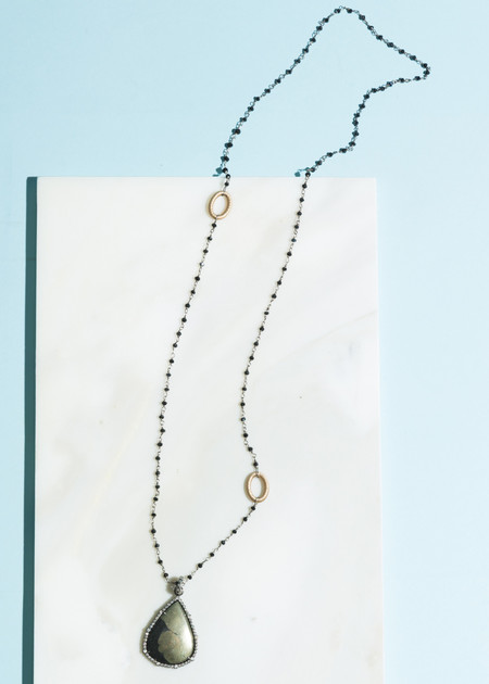 Jewels by Piper Pyrite and Diamond Teardrop Pendant Necklace