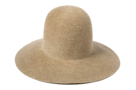 Clyde Wide Brim Dome Hat in Camel Salome Angora