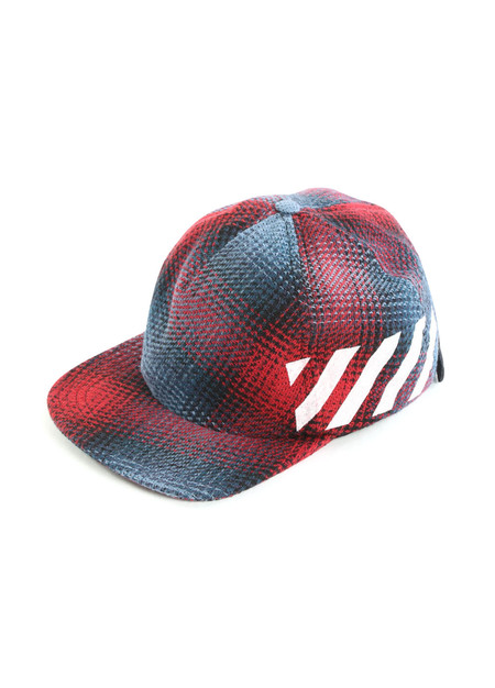 Off-White Diagonal Red Check Cap