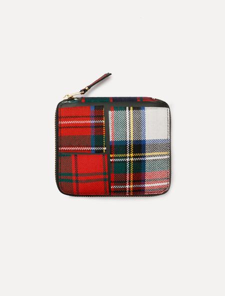 Comme des Garçons Red Tartan Patchwork Full Zip Wallet - SA2100TP