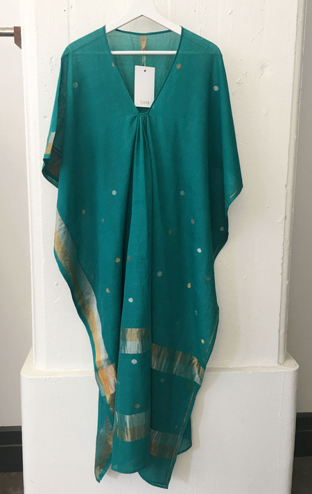 Two Emerald green sari caftan