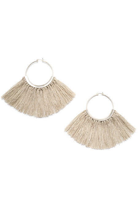 Erin Considine RIDGE FRINGE HOOPS WITH RAW FLAX