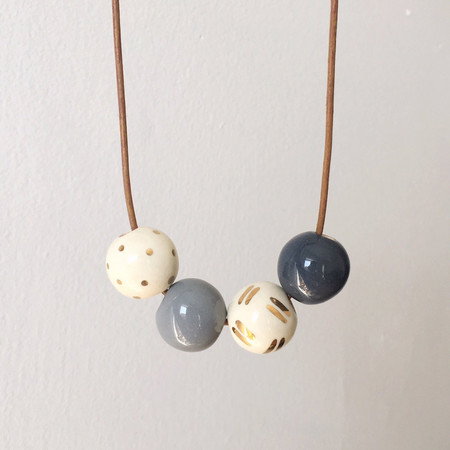 Shayna Stevenson Grey Speckled and Gold Necklace
