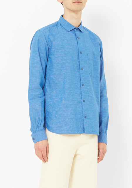 You Must Create Blue Linen Curtis Shirt
