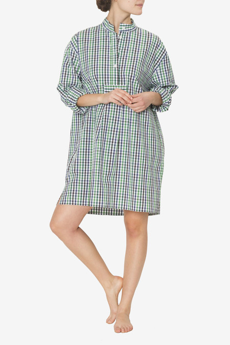 The Sleep Shirt Short Sleep Shirt Green & Navy Gingham