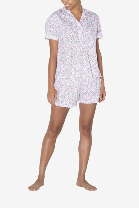 The Sleep Shirt Pleat Short - Red Floral Print