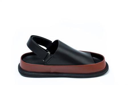 Marni Black and Brown Calfskin Sandal