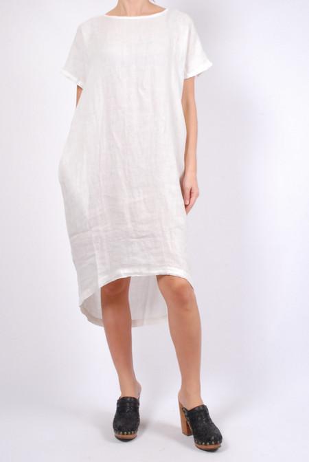Black Crane Pleated Cocoon Dress - Eggshell