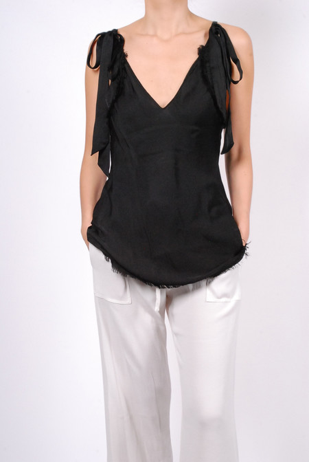Raquel Allegra Bias Tie Tank - Black