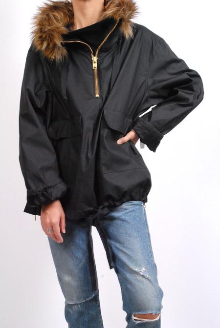 Smythe Anorak Coat - Black with Wolf (Faux)