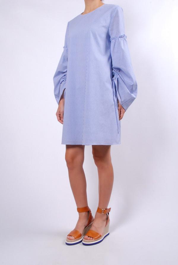 Tibi Elliot Stripe Trapeze Dress - Blue/Multi