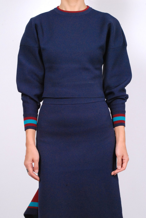 Tibi Jacquard Knit Pullover - Navy Multi