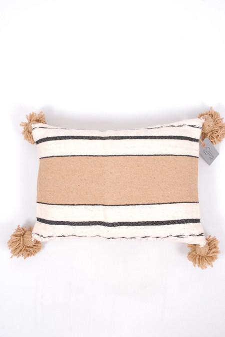 Totem Desert Stripe Wool Pillow - Tan /Ivory/ Black