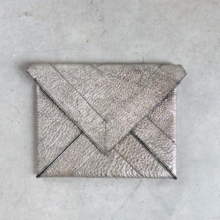 Jerome Dreyfuss Popoche Envelope L in Lamine Silver Goatskin