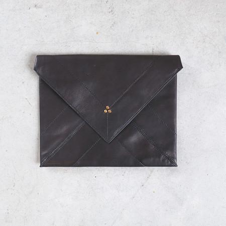 Jerome Dreyfuss Popoche Envelope L in Noir Brass Lambskin