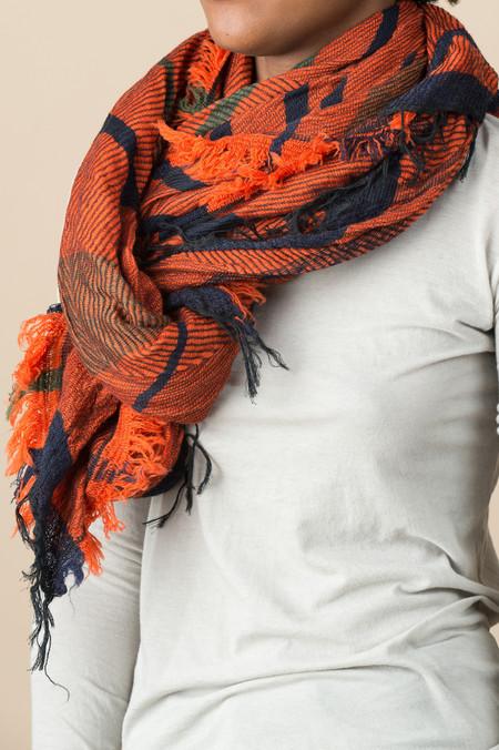 Tamaki Niime #7 Cotton/Wool Shawl In Carrot