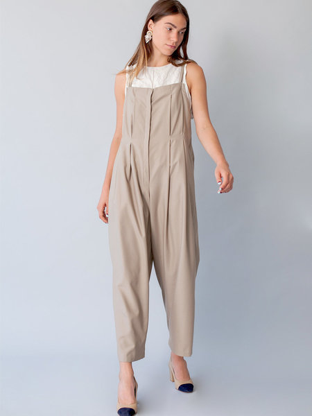 Lera Pivovarova Elegant Lee Overalls in Almond Milk