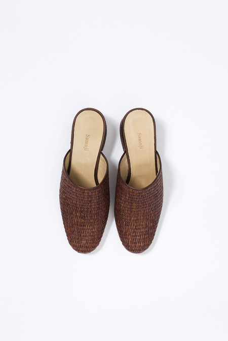 SAMUJI MULES BASKET HEELS - DARK BROWN