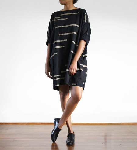 Uzi NYC Uzi Black Broken Stripes Now Dress