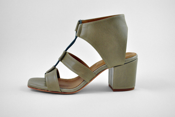 The Palatines Shoes Satis Block Heel Sandal W Thong - Olive Leather