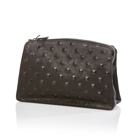 MARIE TURNOR Dome Clutch in Black Pyramid Stud