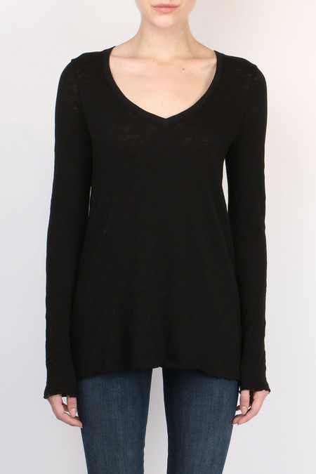 ATM LS V-Neck Slub T-Shirt in Black